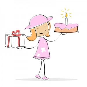 Cartoon of birthday girl with cake and present www.adventuresinexpatland.com