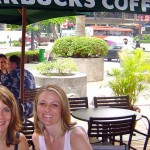 Woman sitting at table outside a Starbucks in Singapore www.adventuresinexpatland.com