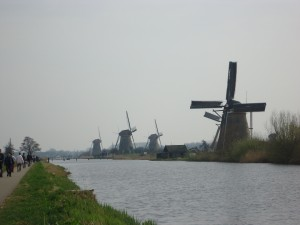 four windmills in a row at Kinderdijk on Adventures in Expat Land