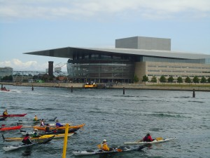 Kayakers & Copenhagen Opera House www.adventuresinexpatland.com