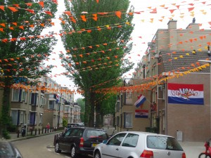 Dutch neighborhood decorated for Euro 2012 on www.adventuresinexpatland.com