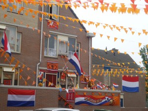 Decorated Dutch house for national voetbal on Adventures in Expat Land