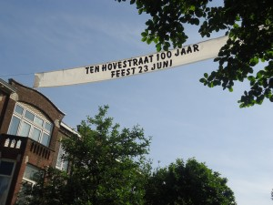 Banner proclaiming Ten Hovestraat centennial at www.adventuresinexpatland.com