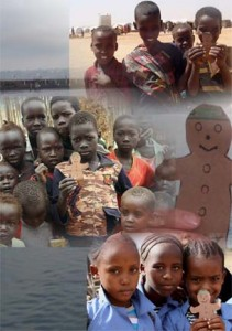 Gingerbread Man with refugee children in Ethiopia by Tracey Buckenmeyer on www.adventuresinexpatland.com